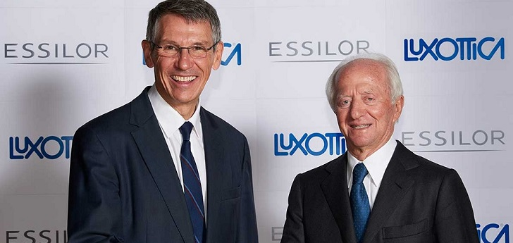 Hubert Sagnières, consejero delegado de Essilor, y Leonardo Del Vecchio, presidente de Luxottica